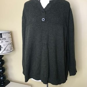 Cj Banks Long Sleeve Olive Green Knit Sweater (3X)